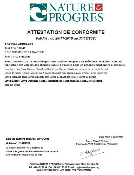 Attestation Nature & Progrès